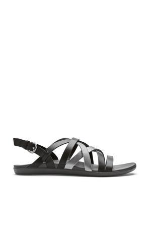 Awe Awe  leren outdoor sandalen zwart/zilver