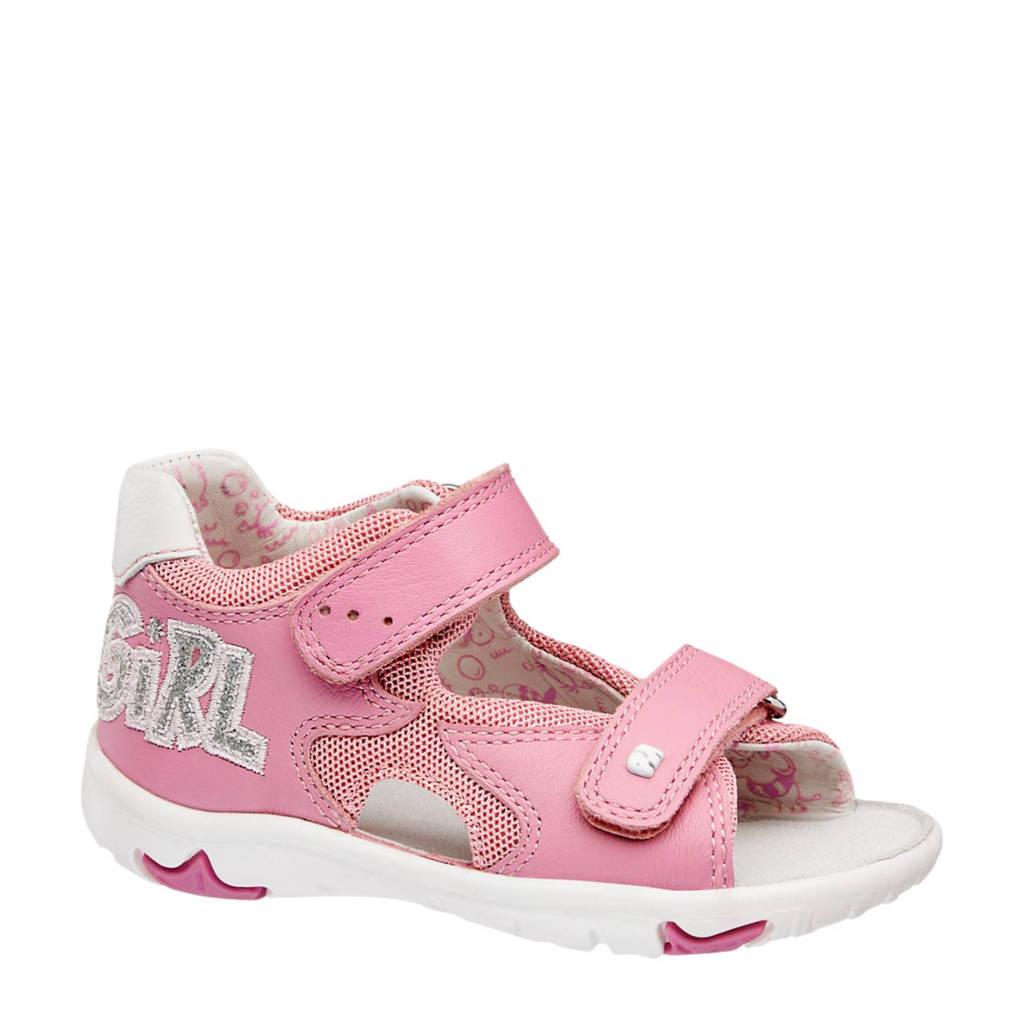 vanHaren Elefanten sandalen met tekst, Roze/wit