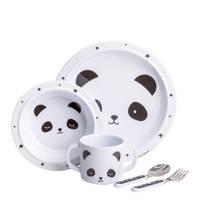 A Little Lovely Company serviesset Panda (5-delig), Zwart/wit