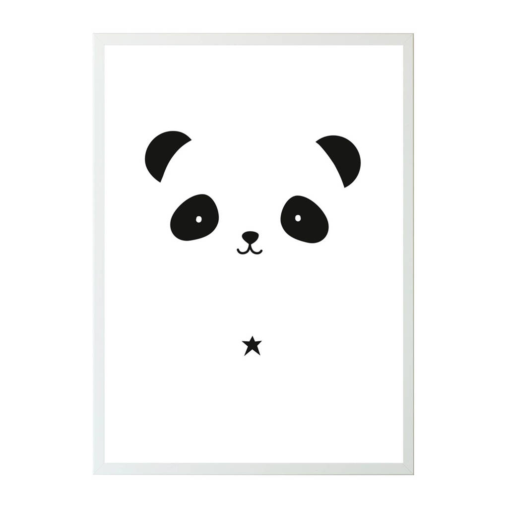 A Little Lovely Company poster Panda (50x70 cm), Zwart/wit