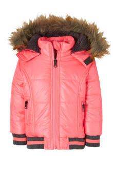 winterjas fluor roze