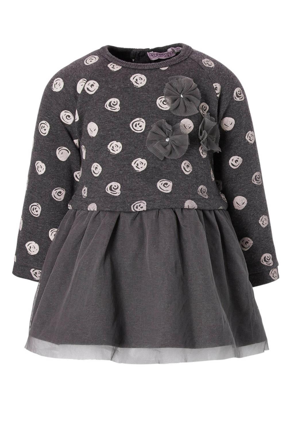 Dirkje jurk met stippen, Grijs/roze