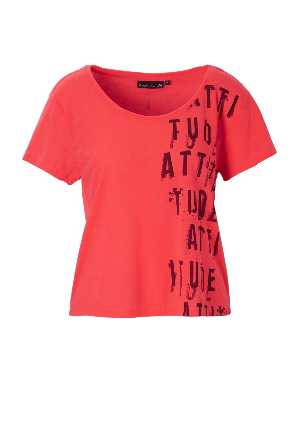 Only Play T-shirt, Neonroze/bordeaux