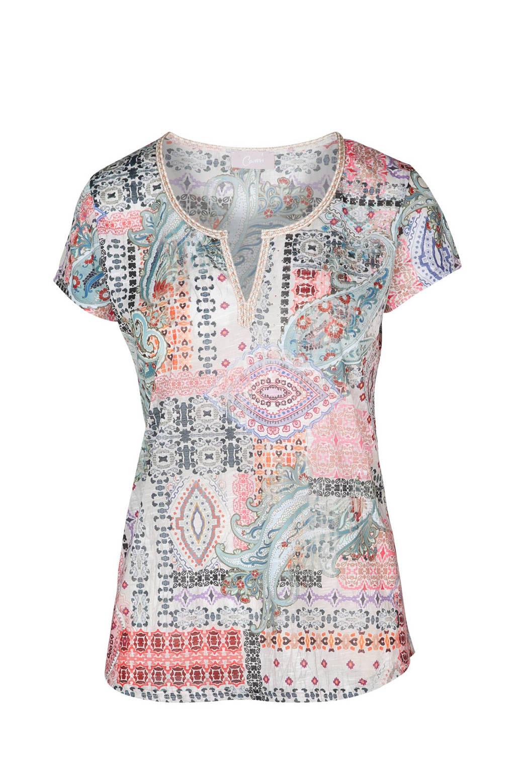 Cassis T-shirt met all over print, Ecru/grijsgroen/zalm