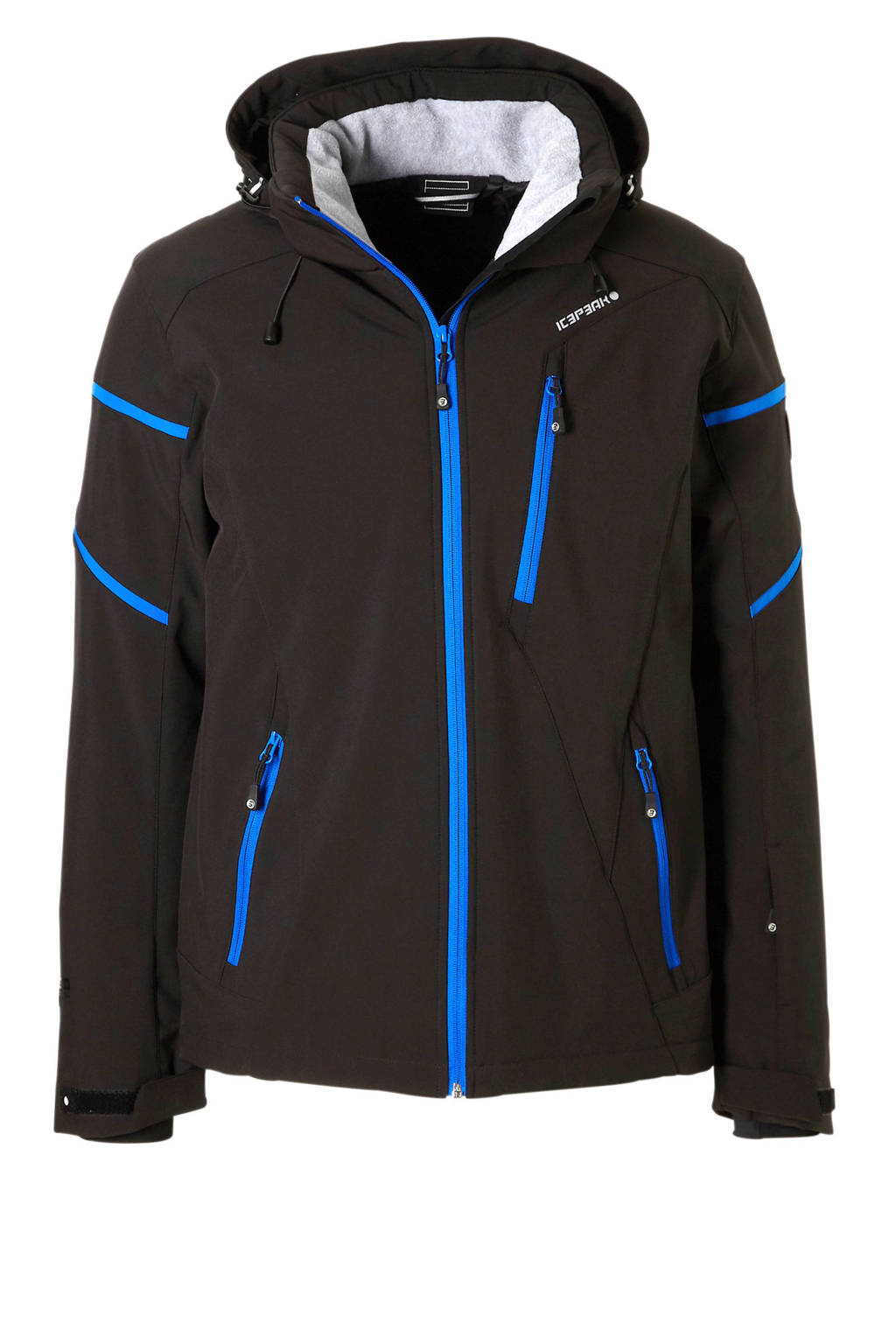 Icepeak ski-jack Nils softshell zwart/blauw, Zwart/blauw