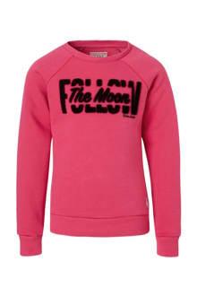 sweater Annora met tekst fuchsia