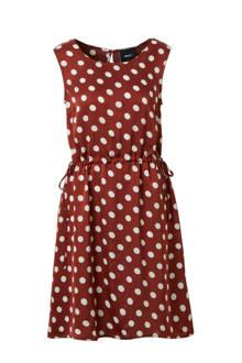 mouwloze jurk met stippen