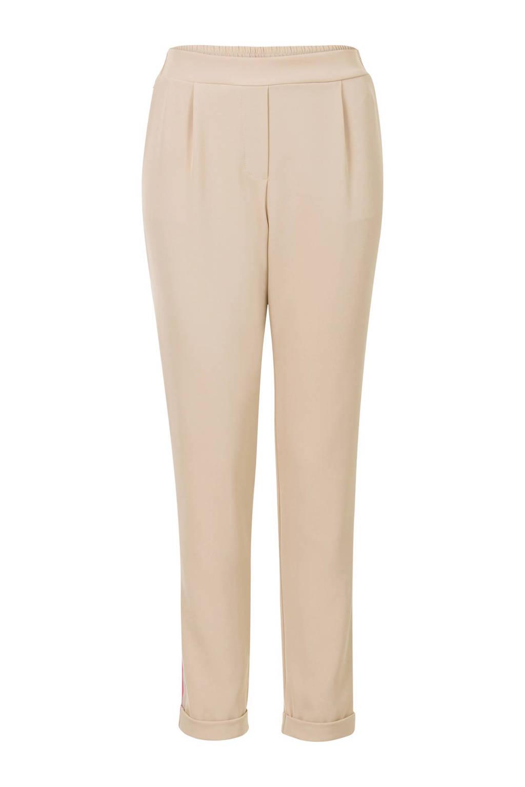 Steps tapered fit broek met zijstreep beige, Beige/roze