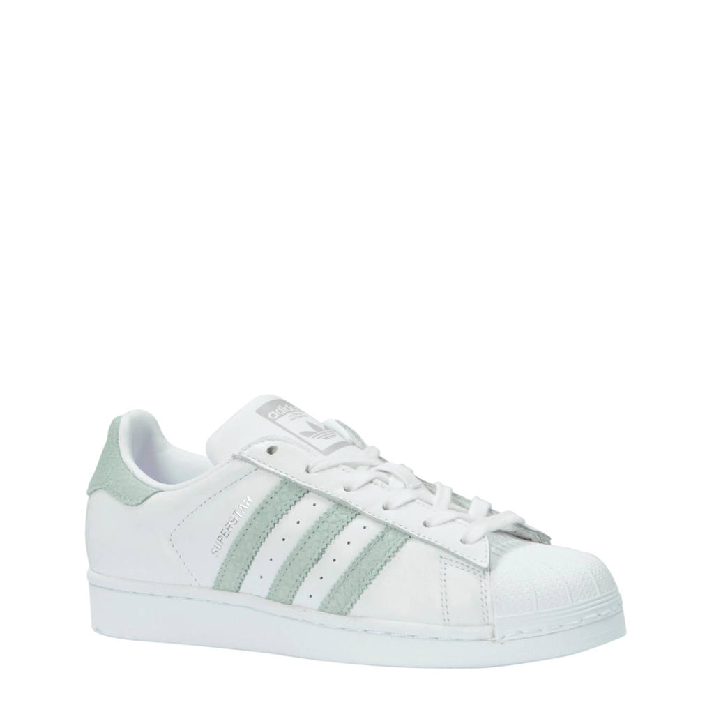 adidas originals  Superstar leren sneakers wit/mintgroen, Wit/mintgroen
