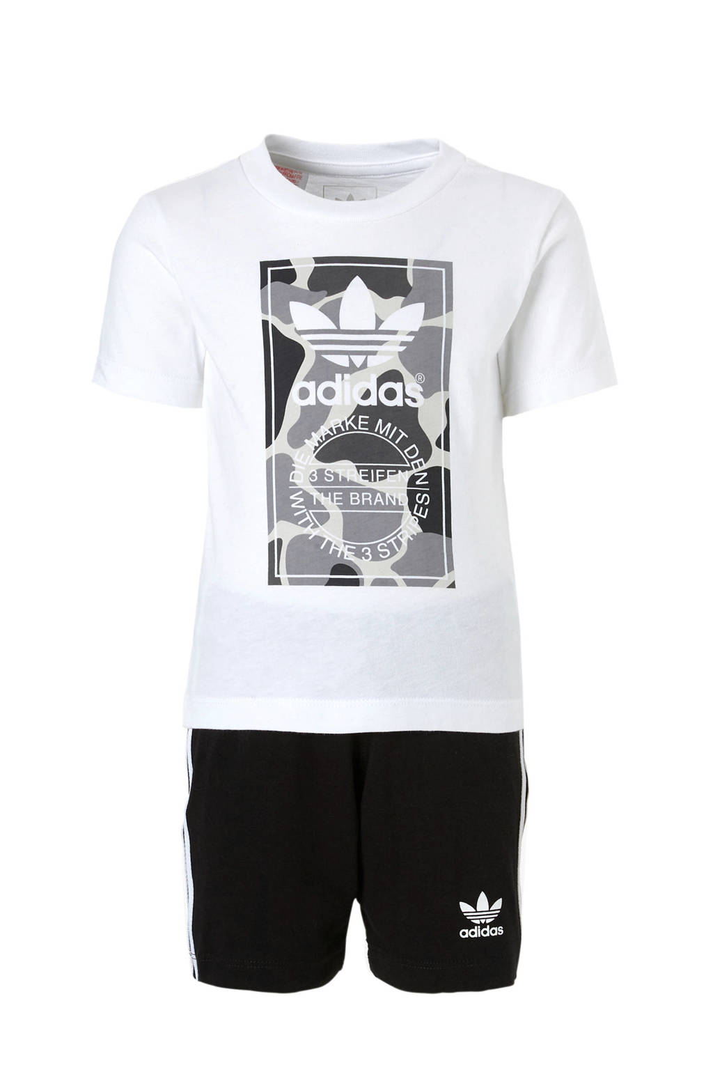 adidas originals   T-shirt + korte broek, Wit/zwart