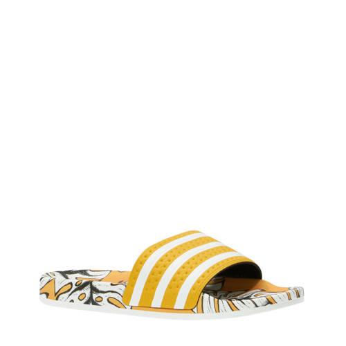 Adilette W badslippers geel-wit print