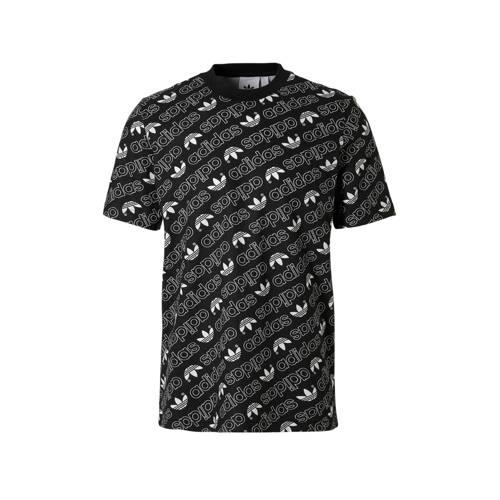 T-shirt met all-over print zwart