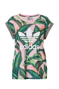 adidas / T-shirt met all-over print roze