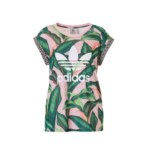 T-shirt met all-over print roze