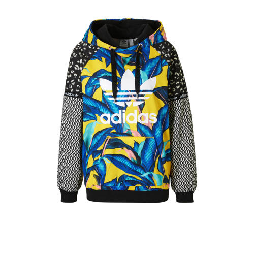 hoodie met all over print geel-blauw