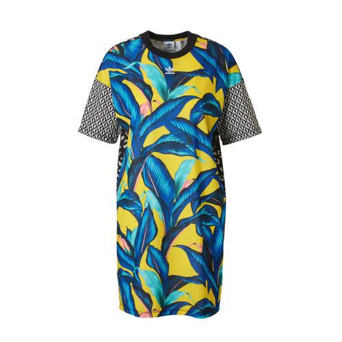 jurk met all over gekleurde print geel-blauw