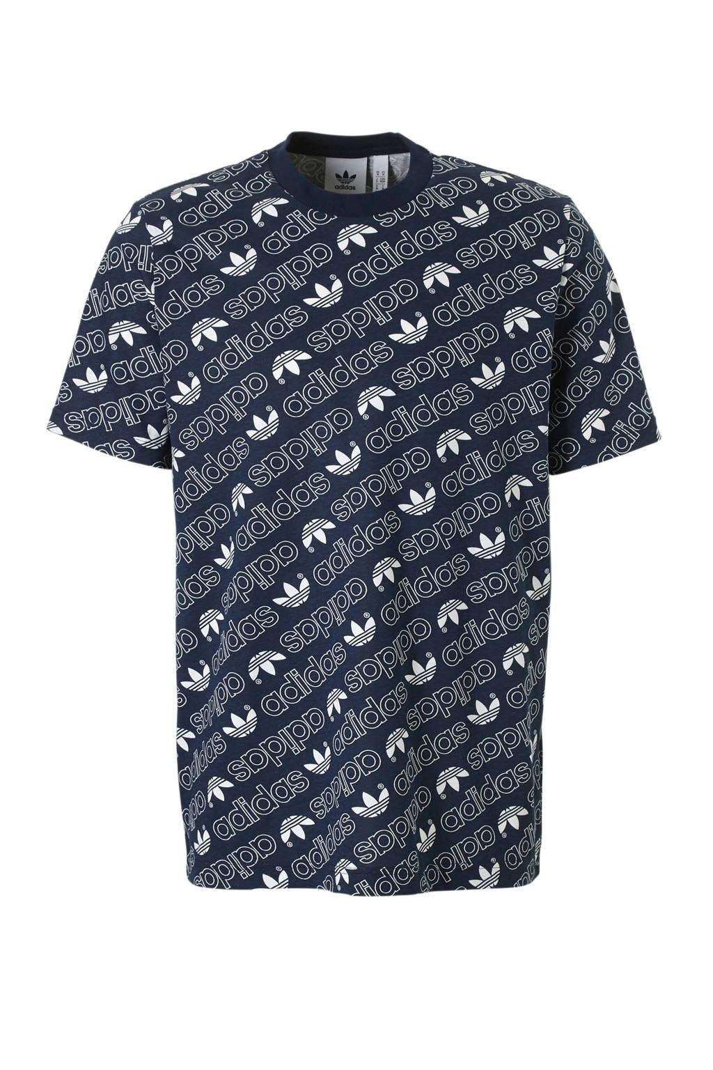 adidas originals   T-shirt met all-over print marine, Marine