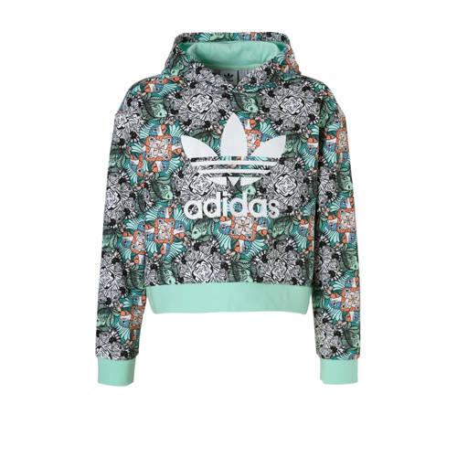 hoodie met all-over print mintgroen