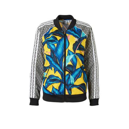 vest met all over print geel-blauw