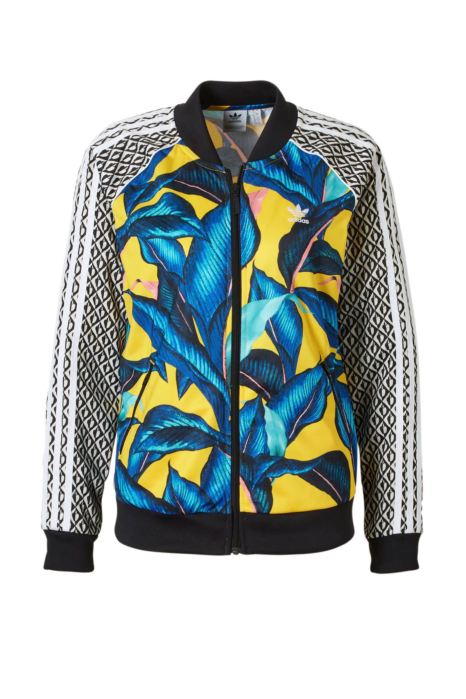 f24c5b30c88 adidas originals vest met all over print geel/blauw | wehkamp