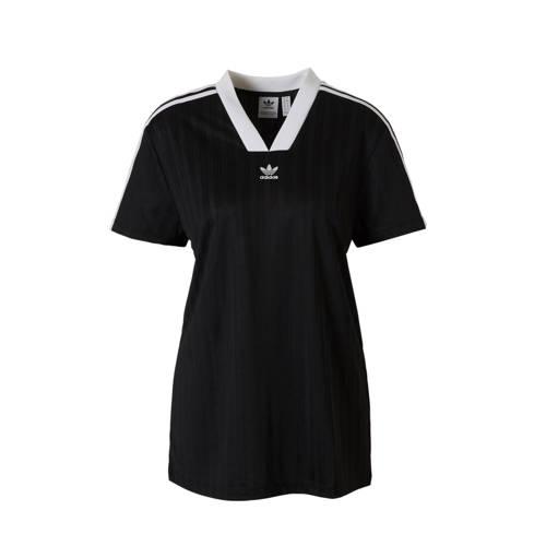 T-shirt met zijstreep zwart