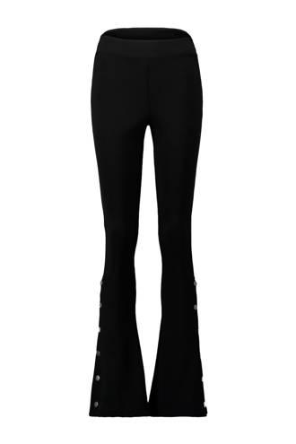 flared broek met hoge taille zwart