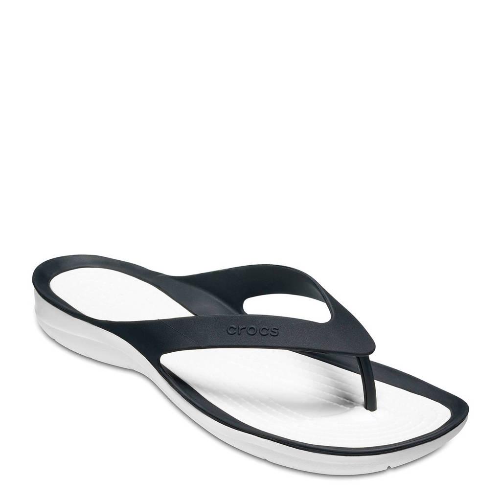 Crocs   Swiftwater teenslippers zwart, Zwart/wit