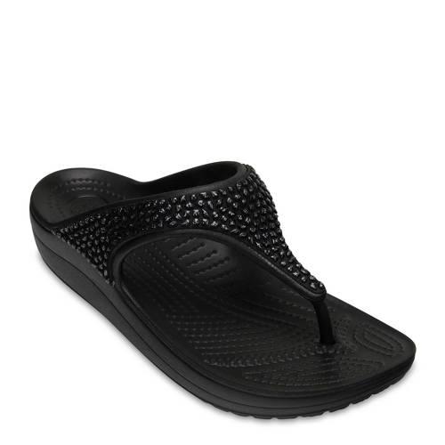 Crocs Sloane teenslippers met siersteentjes zwart kopen