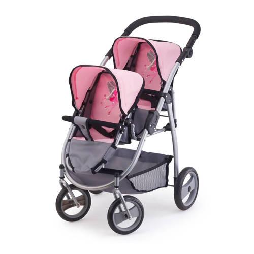 Poppenwagen Bayer tweelingen: grijs-roze