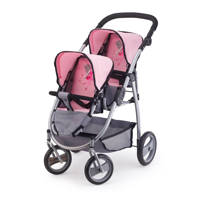 Bayer poppenwagen tweelingen grijs/roze