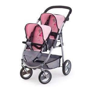 poppenwagen tweelingen grijs/roze