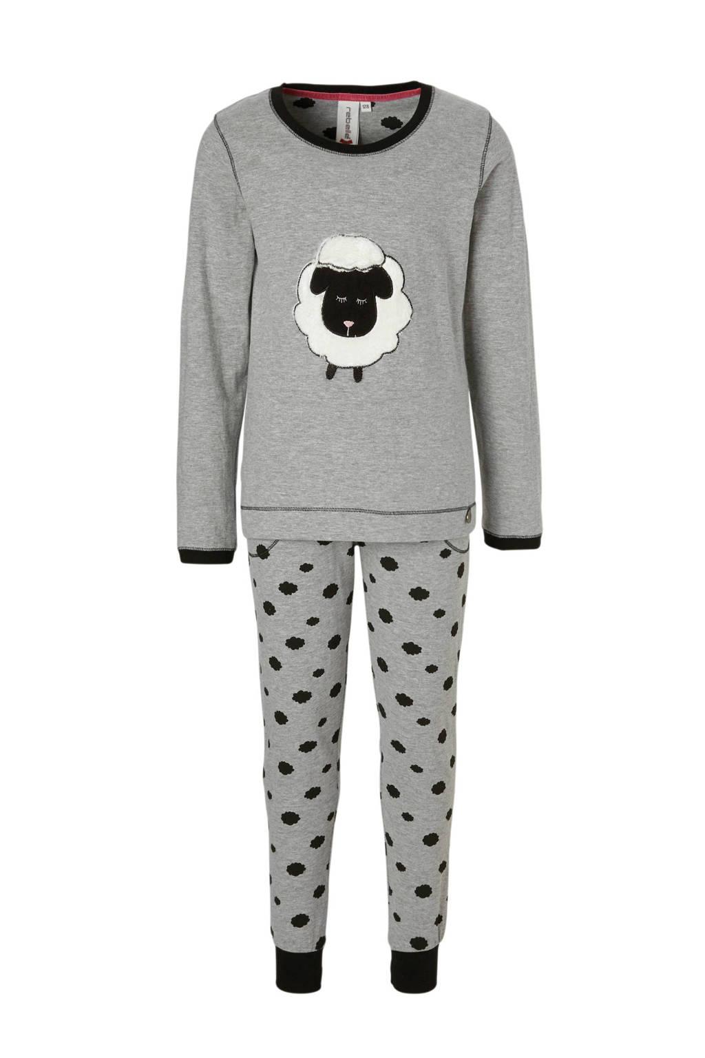 3f7e3245856 Rebelle pyjama met schaap grijs, Grijs/zwart/ecru