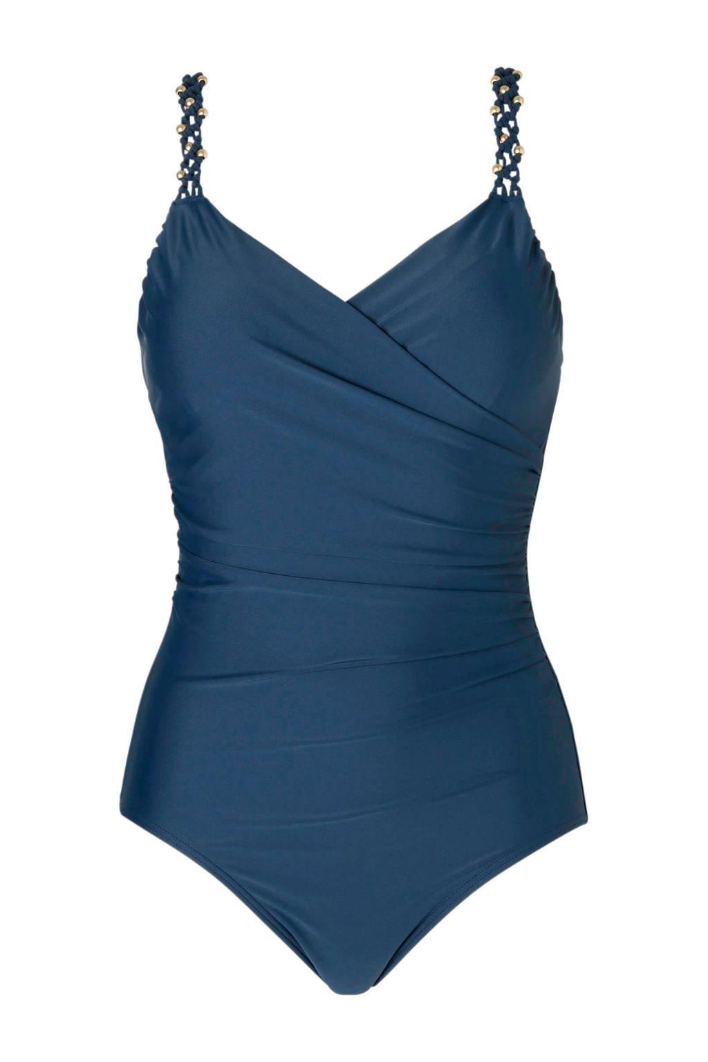whkmp's beachwave corrigerend badpak met plooien blauw, Blauw