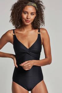 whkmp's beachwave corrigerende badpak met jaquard print zwart, Zwart