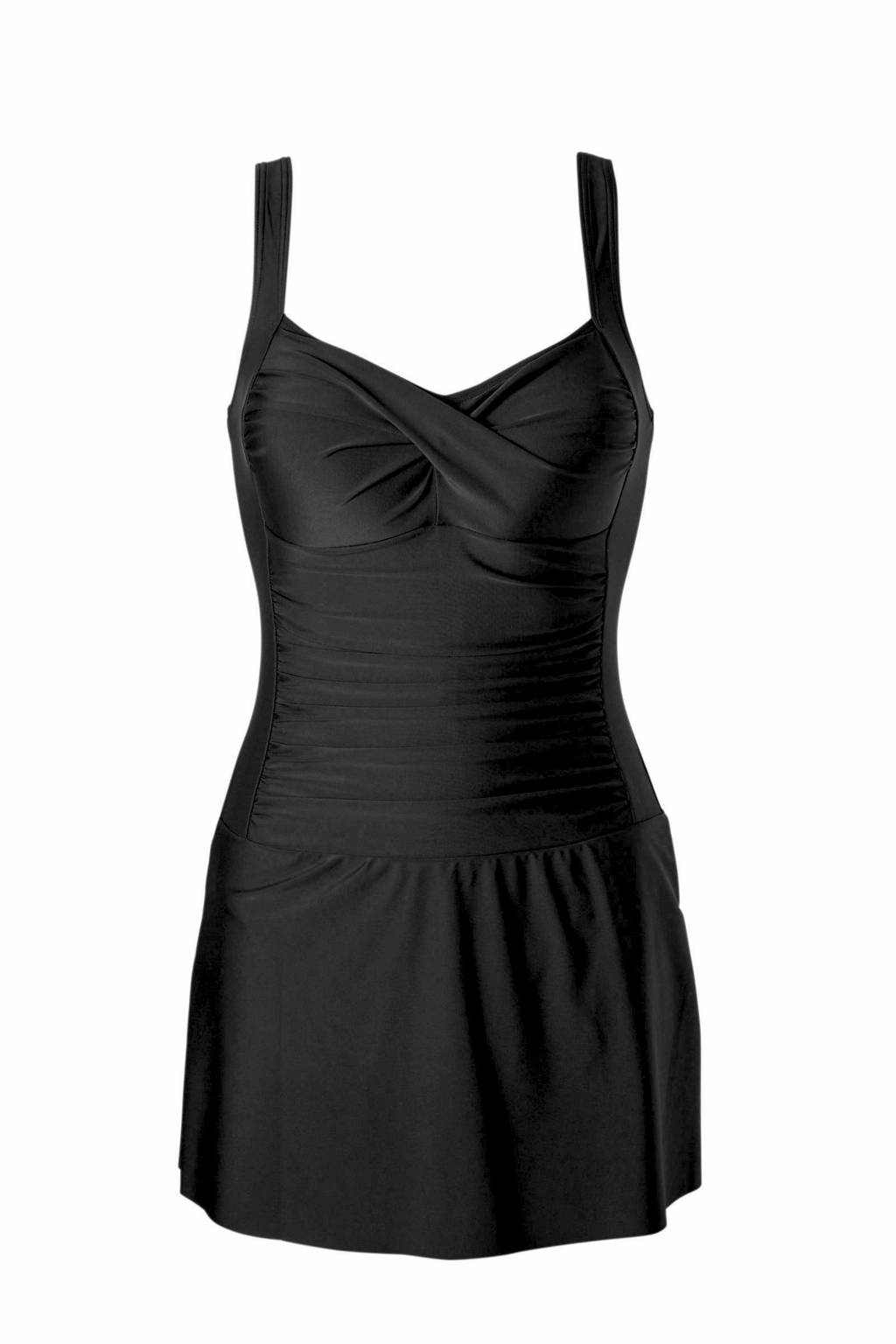 whkmp's beachwave corrigerend badpakjurk met plooi details zwart, Zwart
