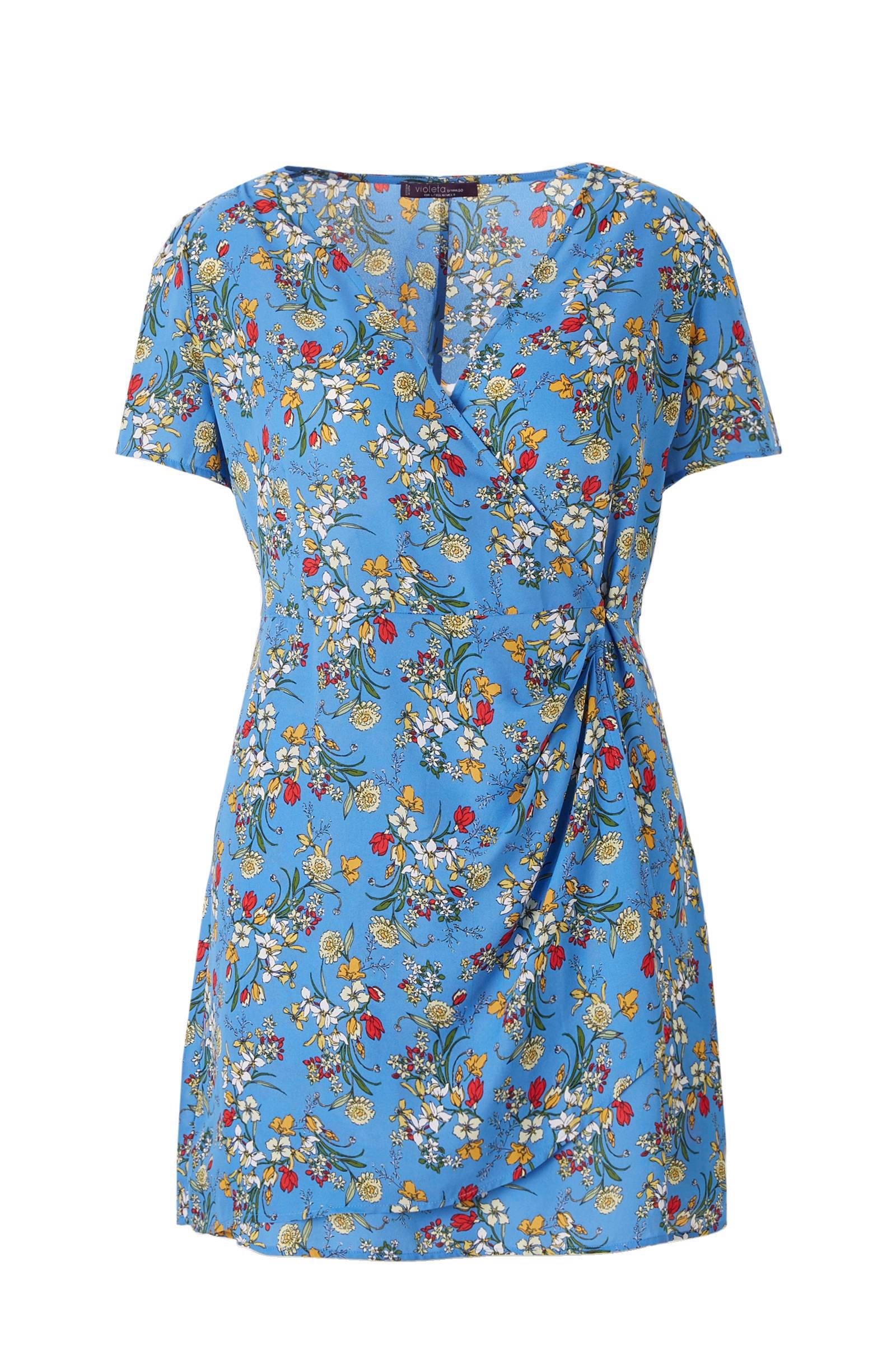 Violeta by Mango jurk met bloemen blauw   wehkamp