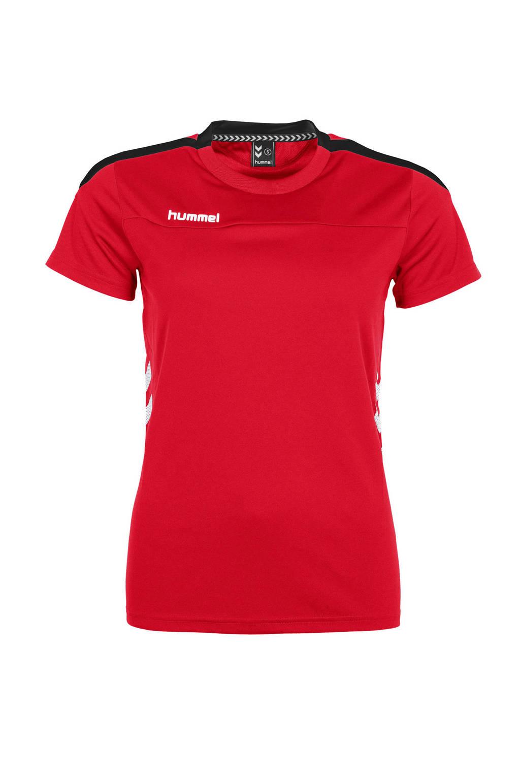 hummel sport T-shirt rood, Rood/zwart/wit, Dames