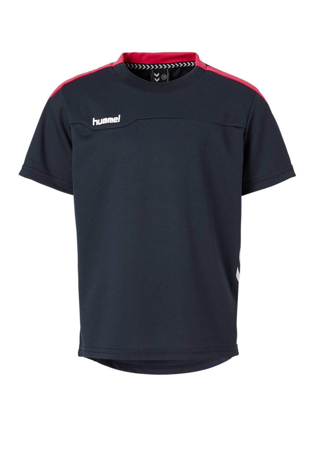hummel   sport T-shirt donkerblauw/roze, Donkerblauw/roze, Jongens