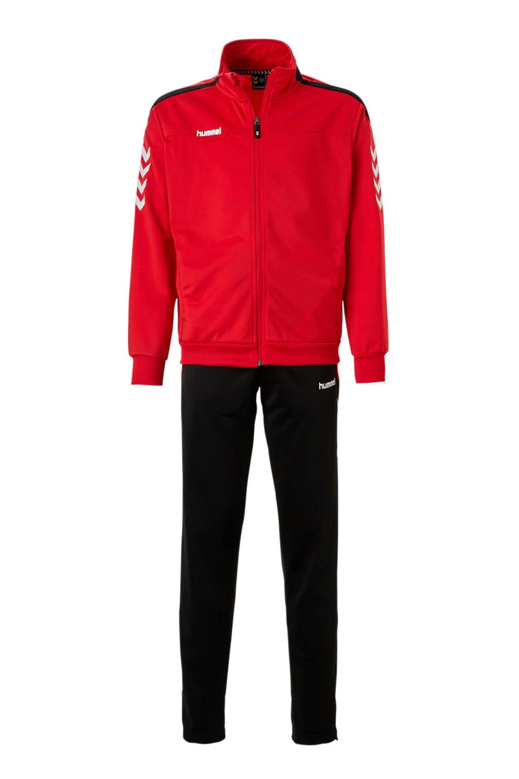 hummel Junior  Valencia trainingspak rood/zwart, Rood/zwart, Jongens/meisjes