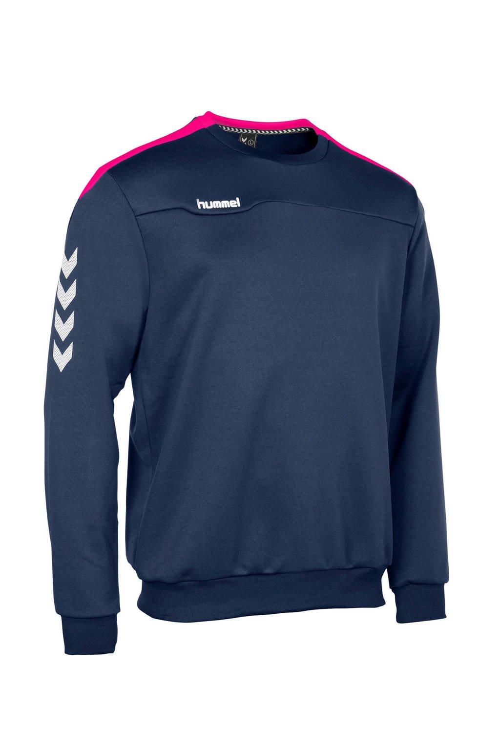 hummel   sportsweater donkerblauw, Donkerblauw/roze/wit, Jongens