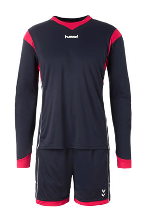Senior  Keepersset donkerblauw/roze