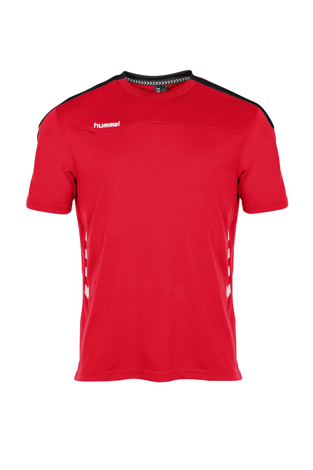 hummel   sport T-shirt rood, Rood/wit/zwart