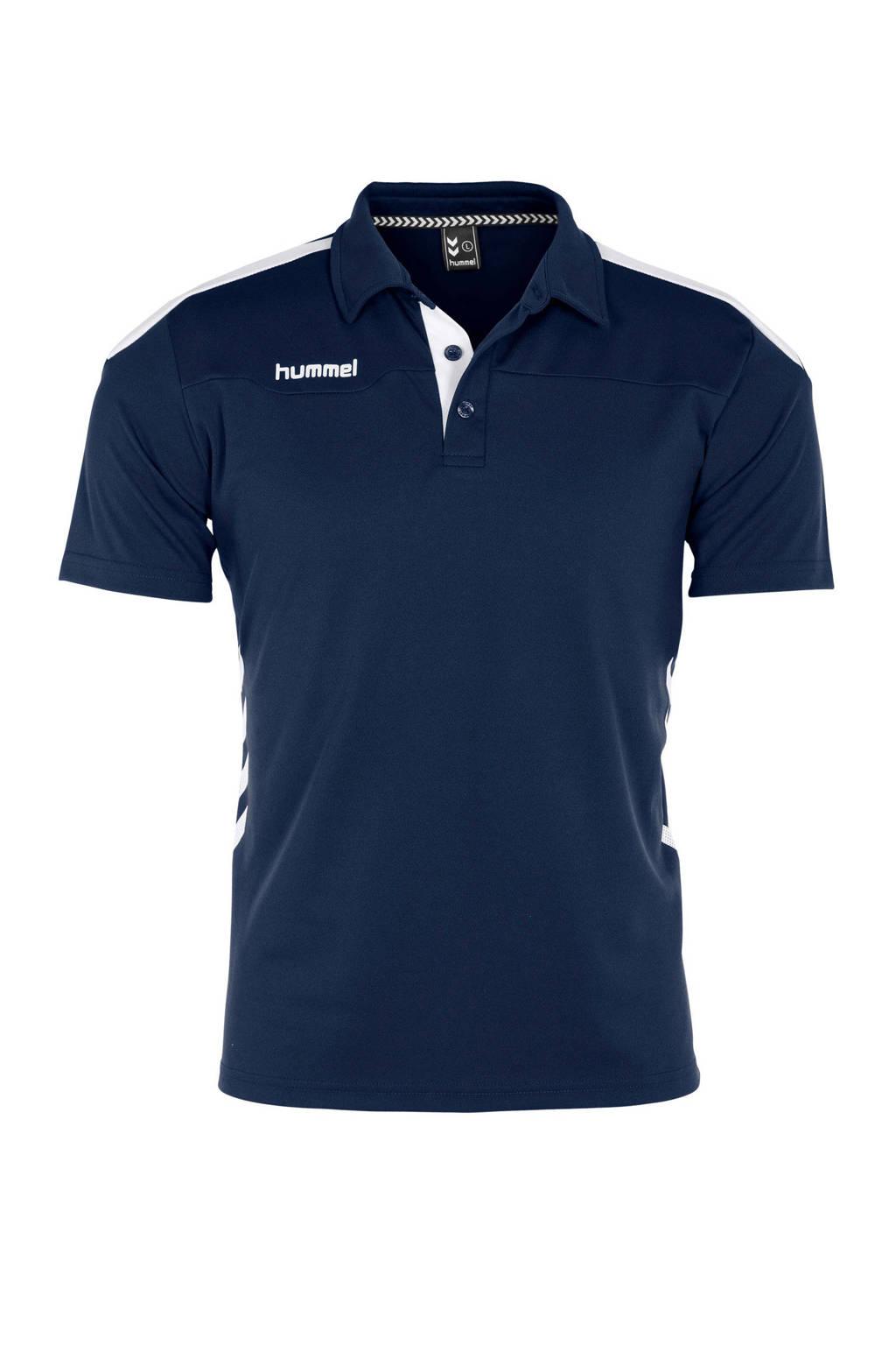 hummel   sportpolo, Donkerblauw/wit