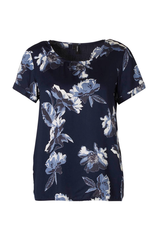 94e71661ac1 VERO MODA top met bloemenprint (dames), Donkerblauw/wit