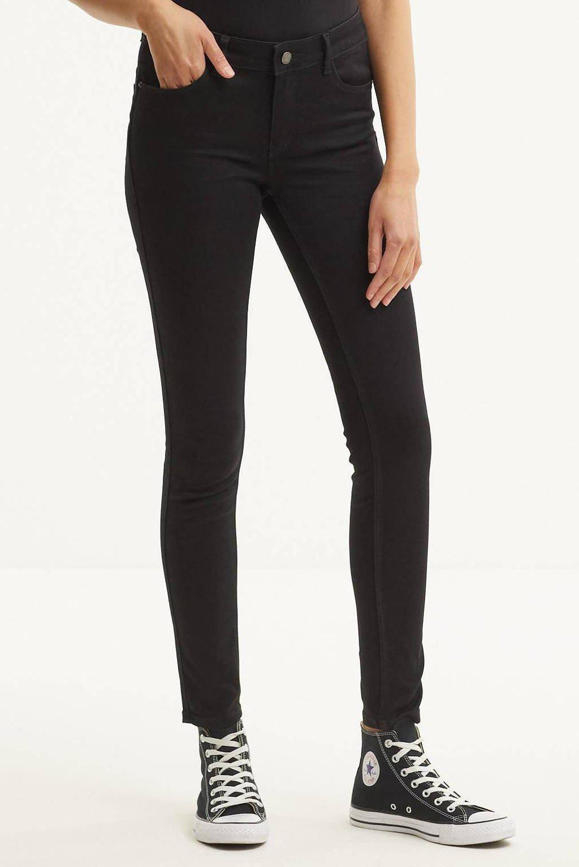 VERO MODA mid waist shape-up slim fit jeans VMSEVEN black, Zwart