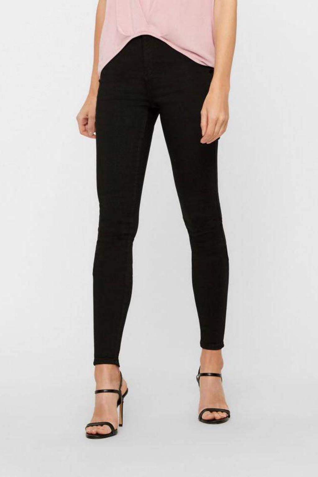 VERO MODA high waist skinny jeans VMSOPHIA stay black, Zwart