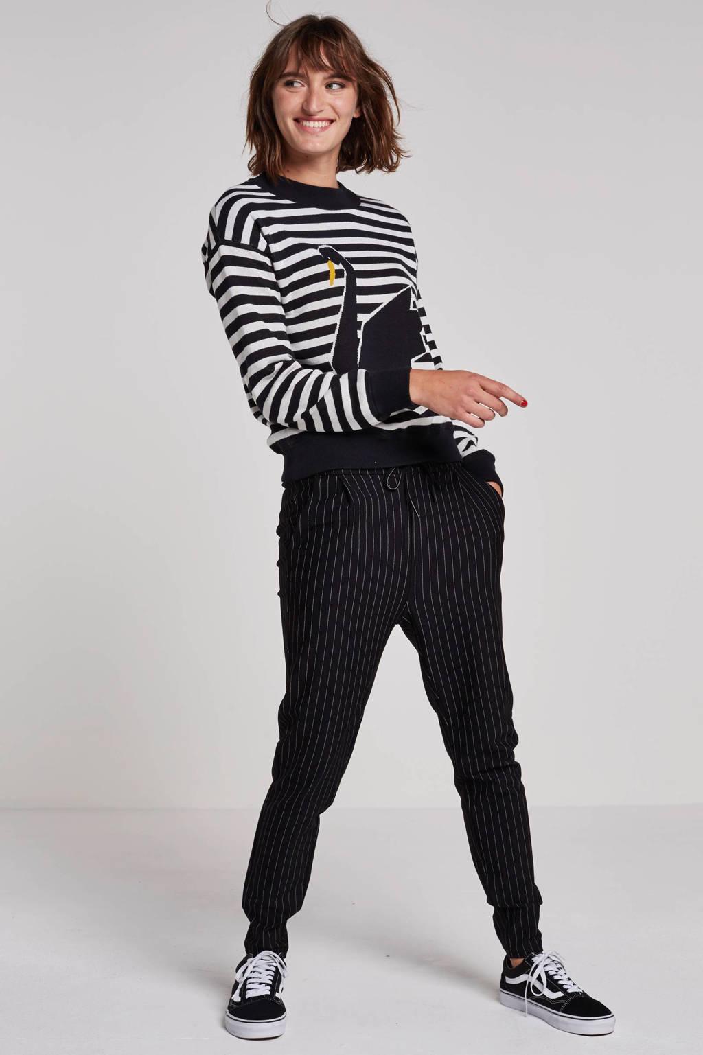 VERO MODA broek met streepdessin, Zwart/wit
