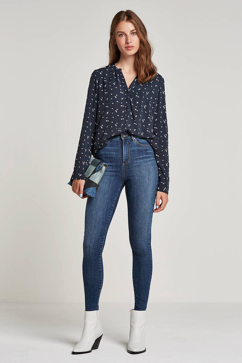 VERO MODA high waist skinny jeans met printopdruk blauw, Blauw