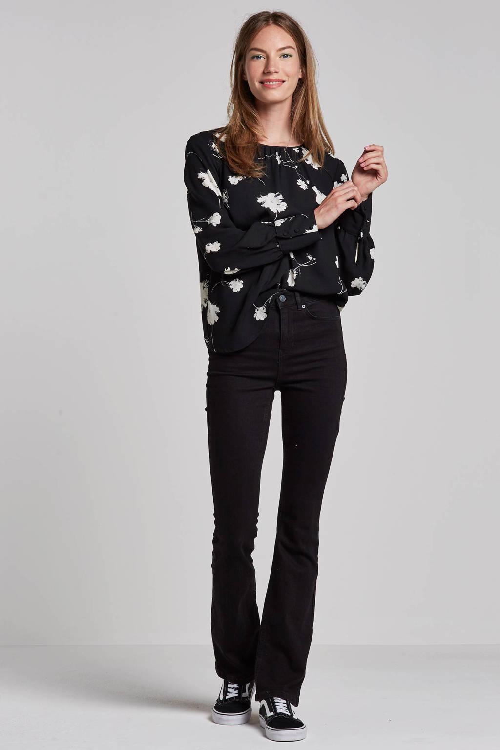 VERO MODA blouse met bloemenprint, Zwart/wit