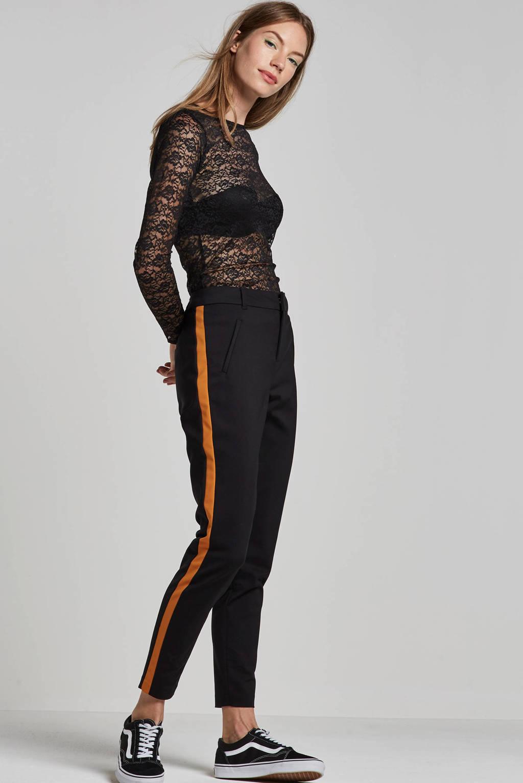 VERO MODA broek met zijstreep, Zwart/oker